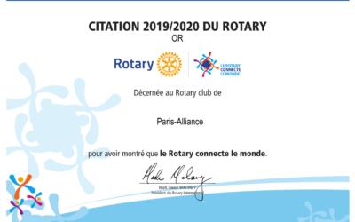 Citation du Rotary 2019/2020